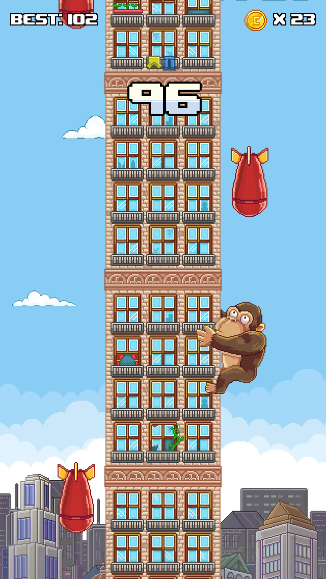 Super Kong Climb - Endless Pixel Arcade Climbing Game iOS Screenshots