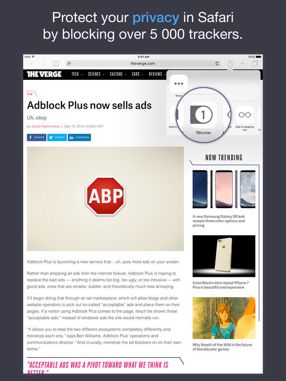 Block ads, trackers & more with 1Blocker Screenshot