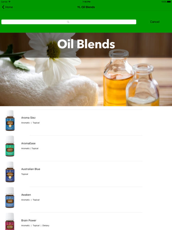 Essential Oils Reference Guide with Drop Shot Screenshots