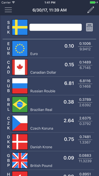 Rapid Currency Converter and Exchange rates list Screenshot