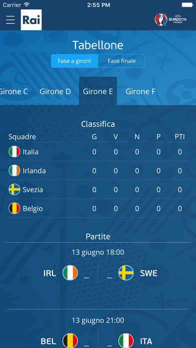 Rai Euro2016 Screenshot
