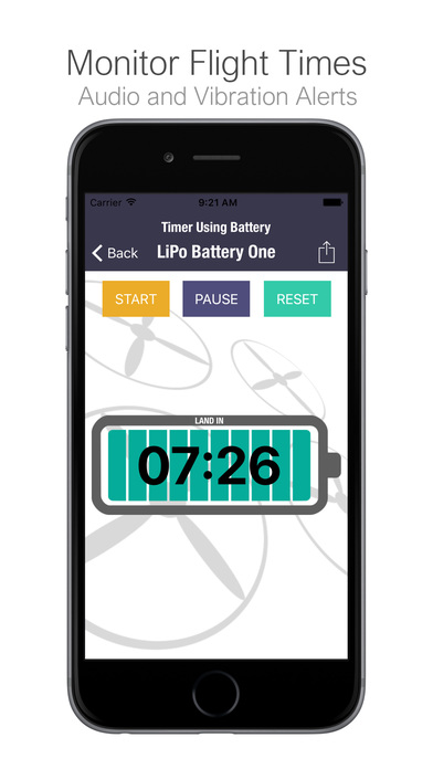 UAV (UAS) Battery Flight Timer / Log Screenshots