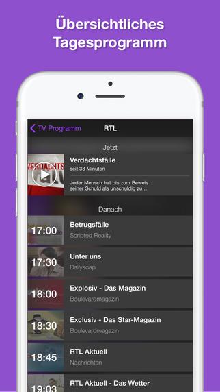TV Programm App TV.de Fernsehprogramm und TV-Zeitung mit Live TV und TV Tipps für heute Screenshot