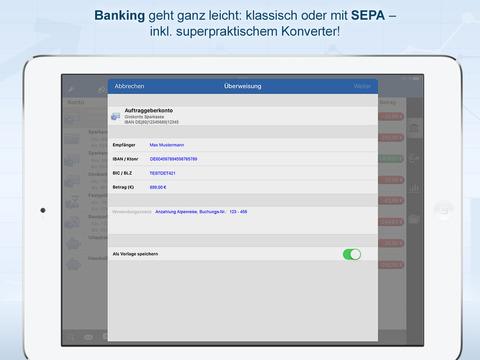 StarMoney iPad - Finanzstatus und sicheres Banking bei Bank oder Sparkasse - Überweisung, Konto, Kreditkarte Screenshot