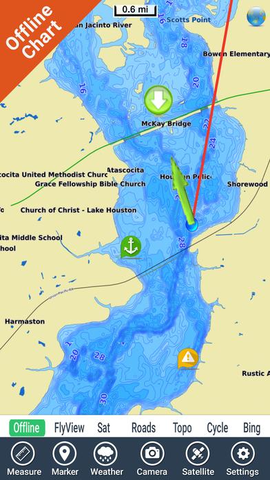 39 lake houston texas gps fishing map offline 39 in de app store for Lake houston fishing