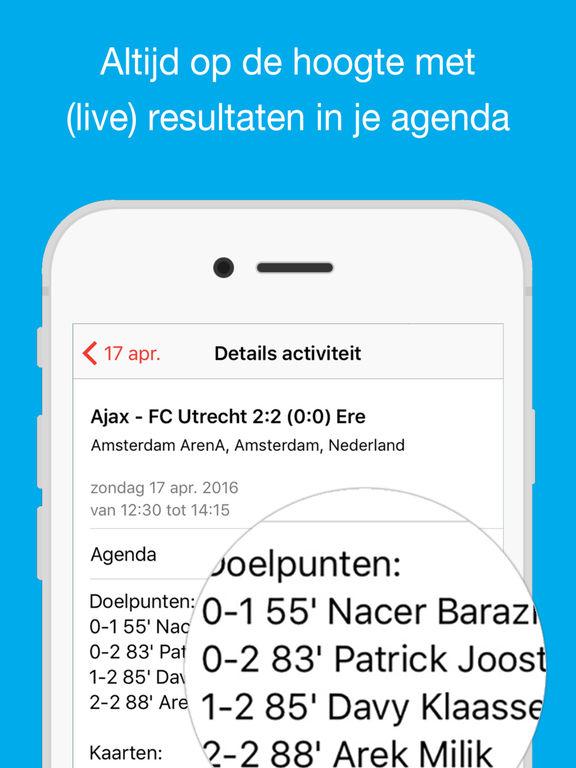 ajax wedstrijden iphone agenda