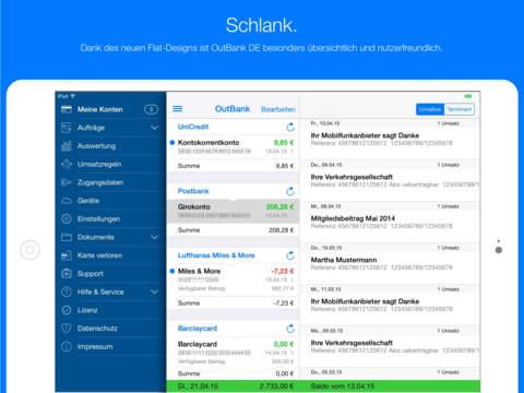 OutBank DE - Sicheres Onlinebanking Ihrer Finanzen: Konto, Kreditkarte & Überweisung Screenshot
