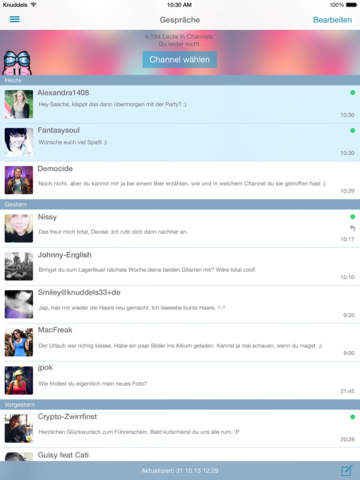 Knuddels Chat - free chatrooms for teens, singles and everyone who loves to chat Screenshots