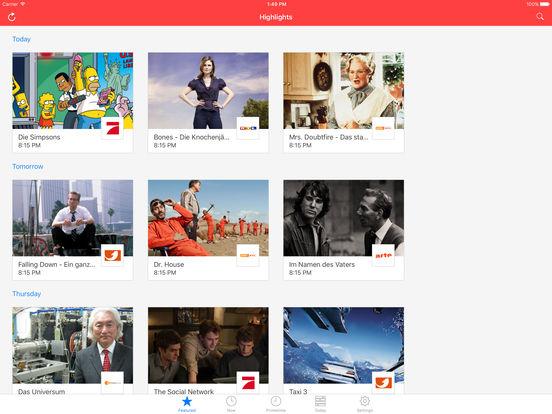 TV Programm Zeitung App ON AIR - Fernsehprogramm und Fernsehzeitung für Spielfilm, Serien und Movie Screenshot