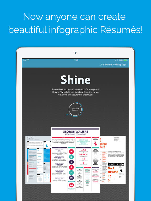 shine create graphical resumes app appwereld