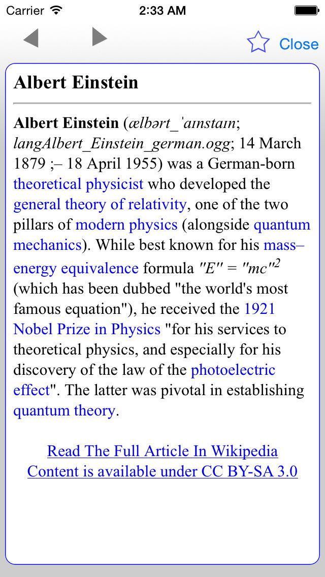 Wiki Offline Dictionary Wikipedia Edition Freeのおすすめ画像1