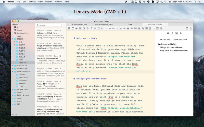 MWeb: Markdown writing,note taking,static blog Gen Screenshot