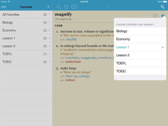 LexicEN English Offline Dictionary & Thesaurus Screenshots