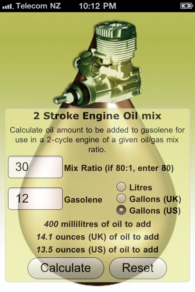 mixing ratios for use with 2 stroke  2 cycle  engines