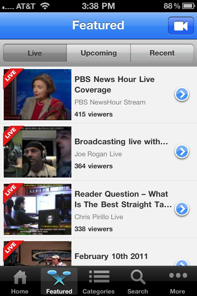 Ustream free app screenshot 1