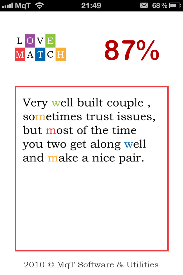 LoveMatcher Screenshot