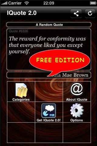 IQuote 2.0 Free - World of Quotes free app screenshot 1