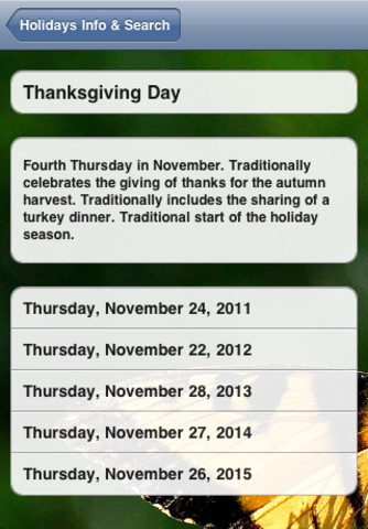USA Holidays Calendar 2011 - 2015 PRO Version iPhone Screenshot 1