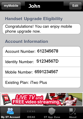 搜尋結果: My SingTel Account