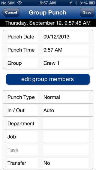 TimeForce II Mobile Interface iPhone Screenshot 4
