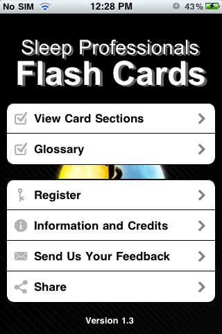 Sleep Professionals Flash Card iPhone Screenshot 1