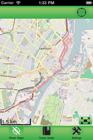 Copenhagen Offline Street Map iPhone Screenshot 1