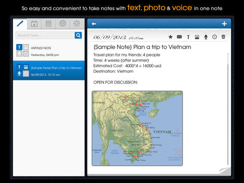 Tri Note - Text Photo Voice in one note