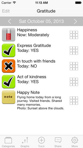Gratitude Happiness - A self-help journal for thoughts mood tracking