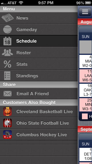 Cleveland Pro Baseball Live iPhone Screenshot 2