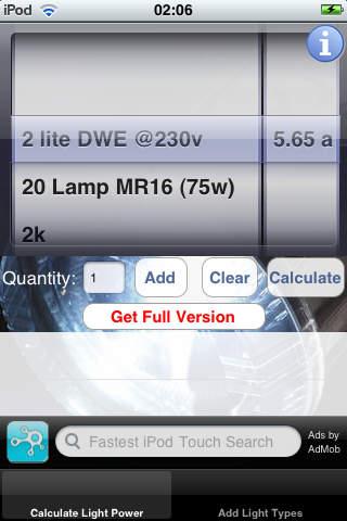 Light Power Calculator Lite iPhone Screenshot 2
