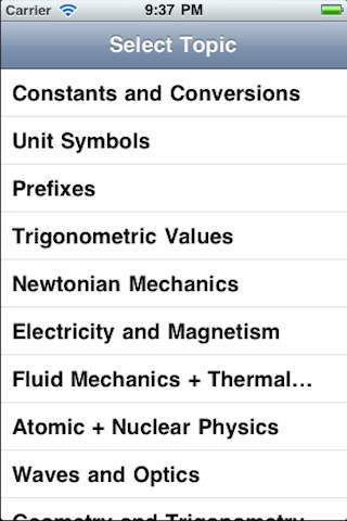 AP Physics iPhone Screenshot 1