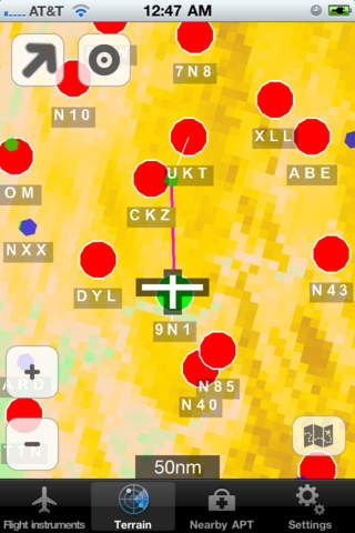 InFlight - attitude, flight instruments, terrain, obstacles and airports on a glass cockpit display with moving map iPhone Screenshot 2