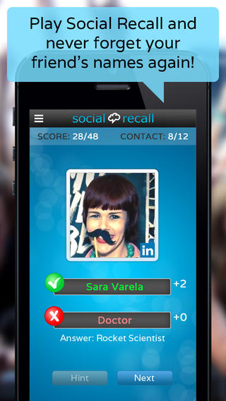 Social Recall: Remember the Name of Friends Business Contacts Solo Multiplayer Quiz