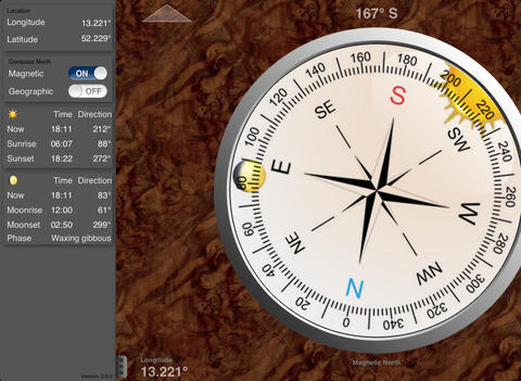 Sun Compass for iPad, iPod Touch and iPhone iPad Screenshot 2