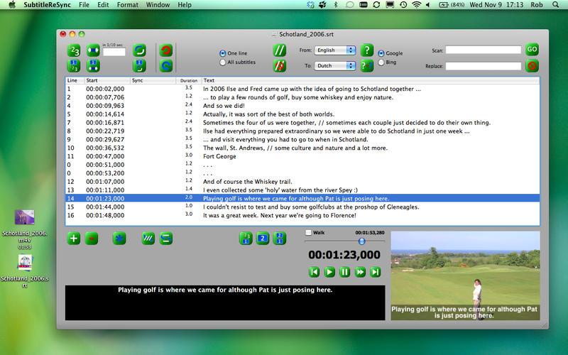 字幕同步编辑软件 SubtitleReSync for Mac