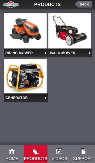 Briggs and Stratton - Home Depot App