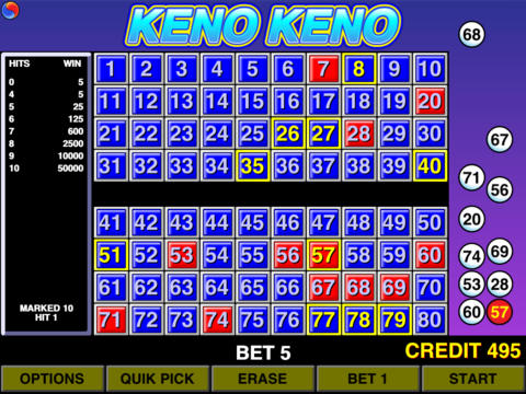 Keno hot cold numbers