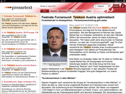 pressetext iPad Screenshot 2