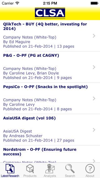 CLSA Research App iPhone Screenshot 1