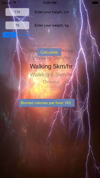 Simple calories calculator