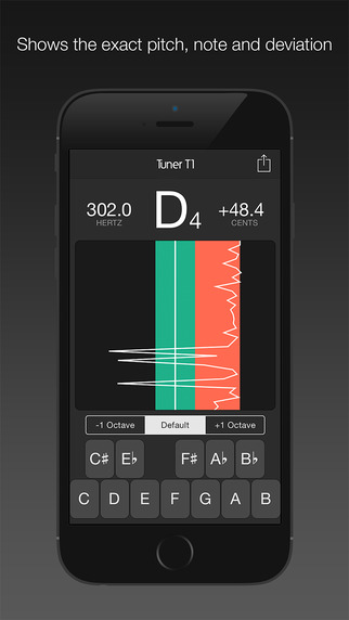 Tuner T1 – Tune any musical instrument (guitar, ukulele, violin, viola, bass, cello and more). Screenshots