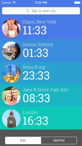 Friendly Clocks - Time Zones for Friends in Just 1 Swipe