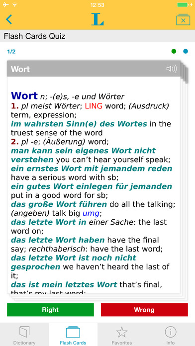 German <-> English Talking Dictionary Langenscheidt Professional iPhone Screenshot 3