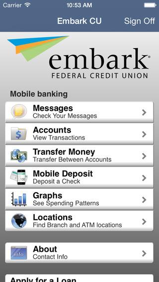 Embark CU Mobile Banking