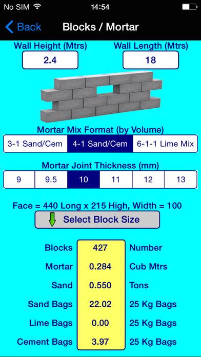 BuildersCalcs iPhone Screenshot 5