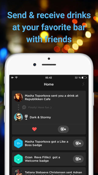 Drinks — Send receive drinks with friends