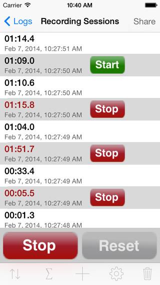 Stopwatch Log iPhone Screenshot 2