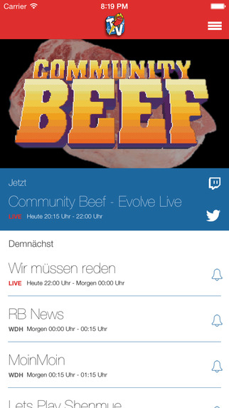 RBTV - Die inoffizielle Sendeplan-App zum Rocket Beans TV-Stream