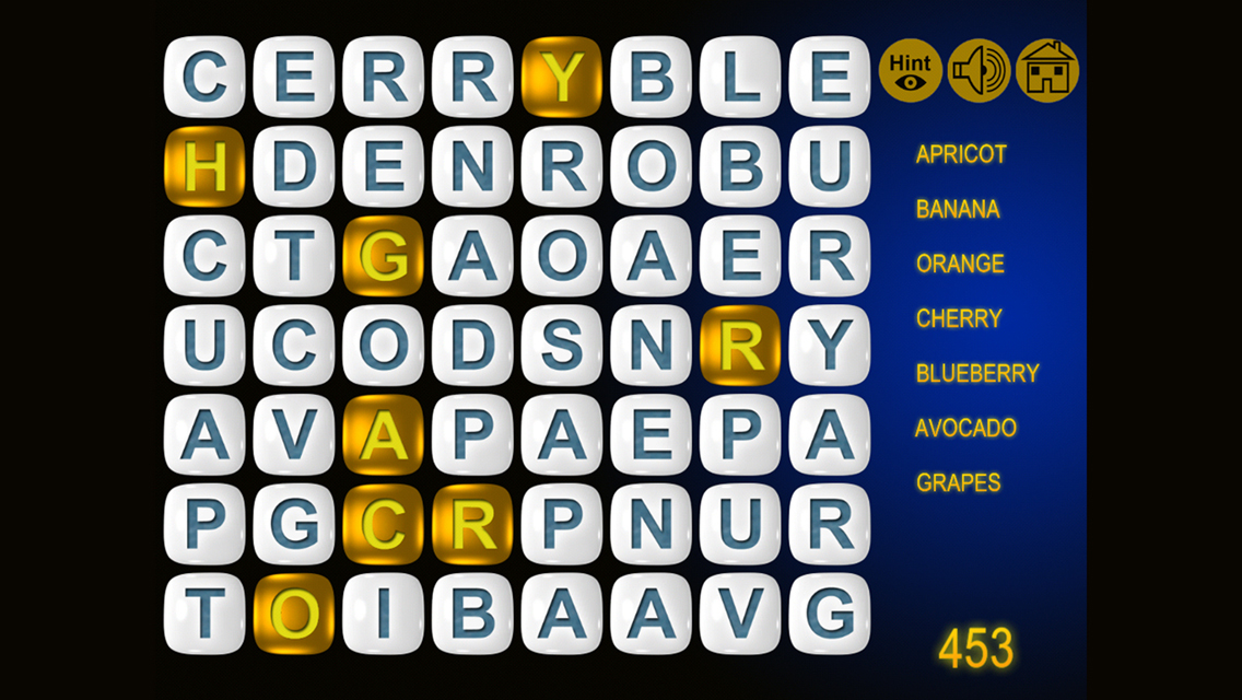 Word search puzzle gold dash and flow through letters or get heads