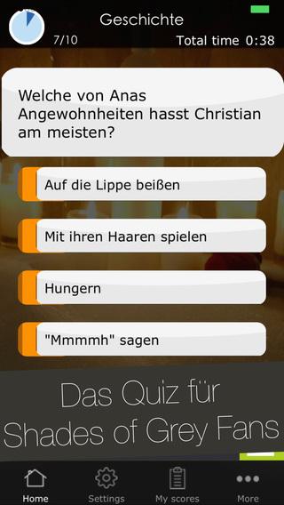 Deutsches Quiz Spiel zu Fifty Shades of Grey - Trivia app über die Buch Serie und den Kino Film für